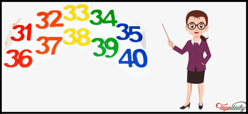 numbers in english 31 to 40