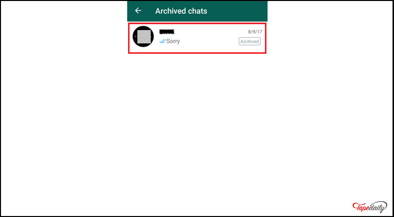 archived to hide WhatsApp conversation