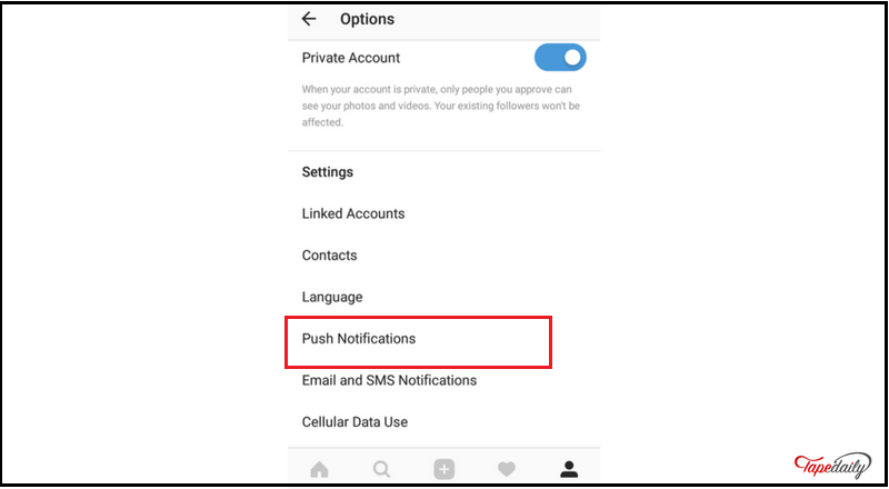 setting to turn Instagram push notification off