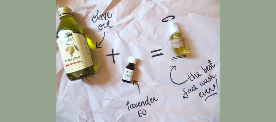 Cleaning face with olive oil