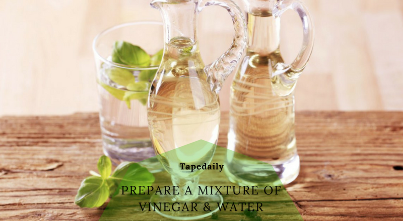 parepare a mixture of vinegar & water