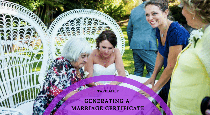GENERATING A MARRIAGE CERTIFICATE