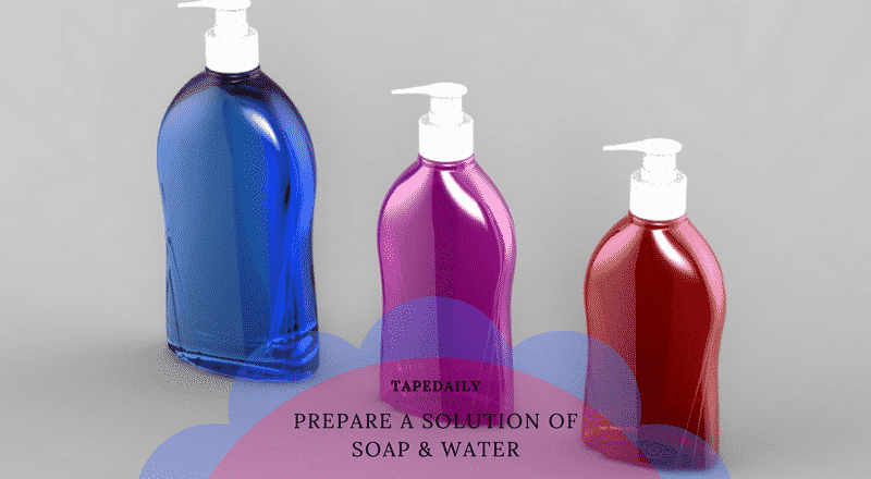 prepare a solution of soap and water