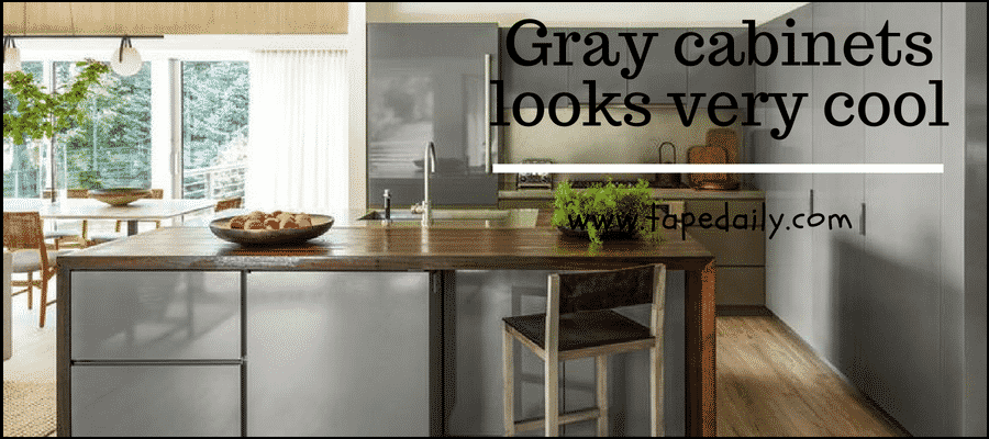 Gray cabinets looks very cool
