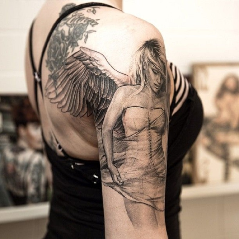 Angel Sleeve Tattoo for women