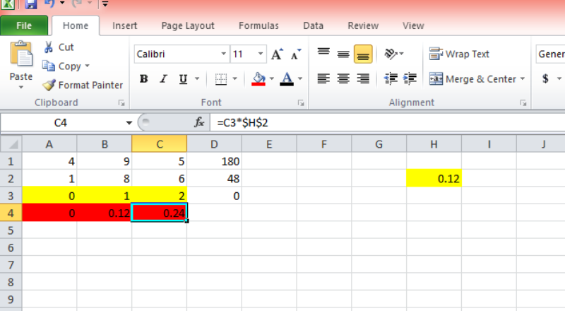 how to multiply in excel with constant